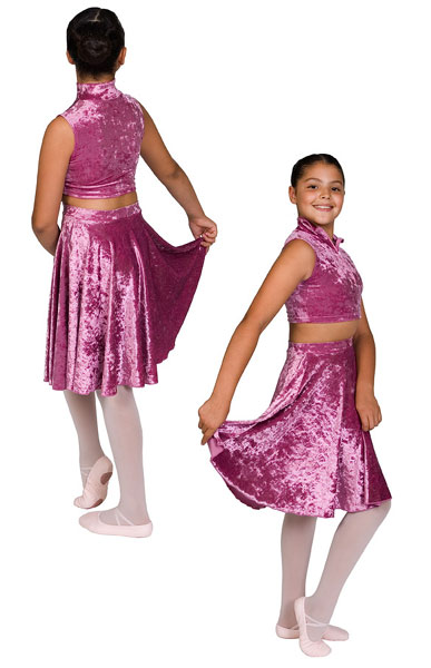 Lengths reduced with age/size. Velvet Lycra. Girls size chart